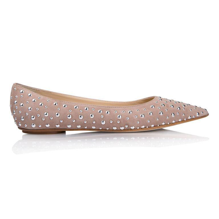 COMO - Velukid Tan + Big Silver Studs, VIAJIYU - Women's Hand Made Sustainable Luxury Shoes. Made in Italy. Made to Order.
