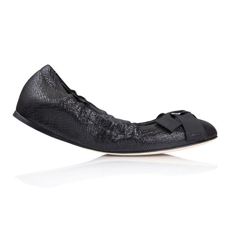 PORTOFINO - Karung Nero + Grosgrain Bow, VIAJIYU - Women's Hand Made Sustainable Luxury Shoes. Made in Italy. Made to Order.