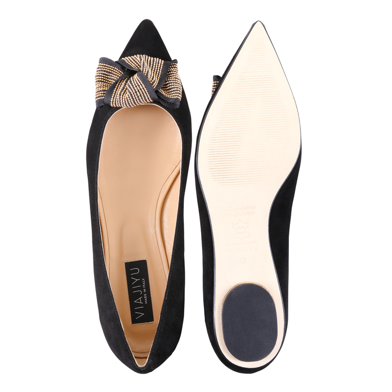 COMO - Velukid Nero + Gold Stud Bow, VIAJIYU - Women's Hand Made Sustainable Luxury Shoes. Made in Italy. Made to Order.