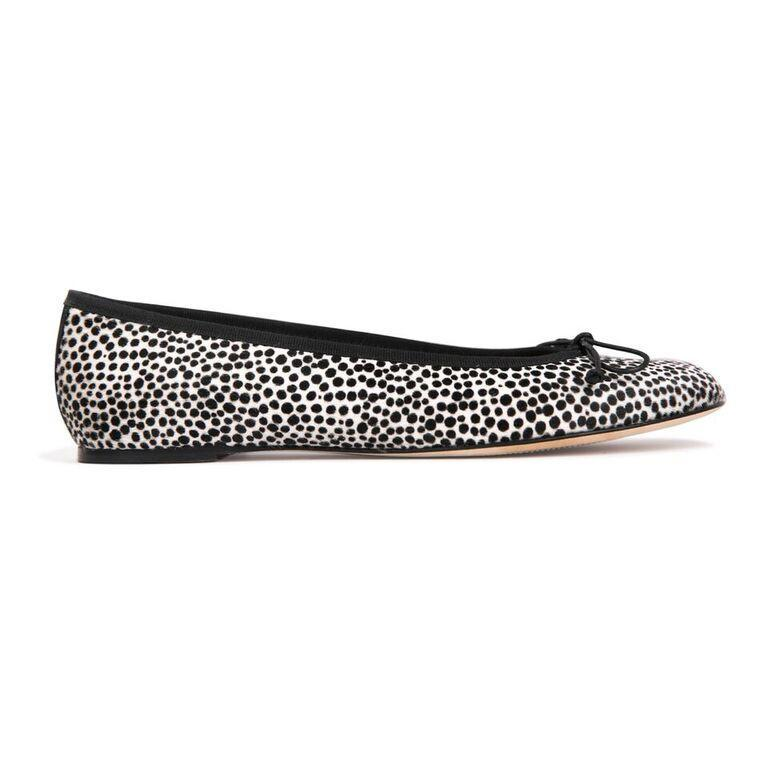 ROMA - Calf Hair Panna Cheetah + Nero Bow, VIAJIYU - Women's Hand Made Sustainable Luxury Shoes. Made in Italy. Made to Order.