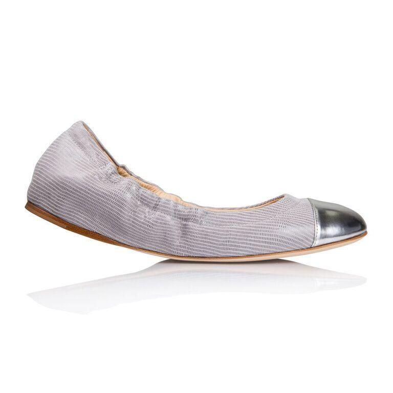 PORTOFINO - Varanus Grigio + Metallic Argento, VIAJIYU - Women's Hand Made Sustainable Luxury Shoes. Made in Italy. Made to Order.