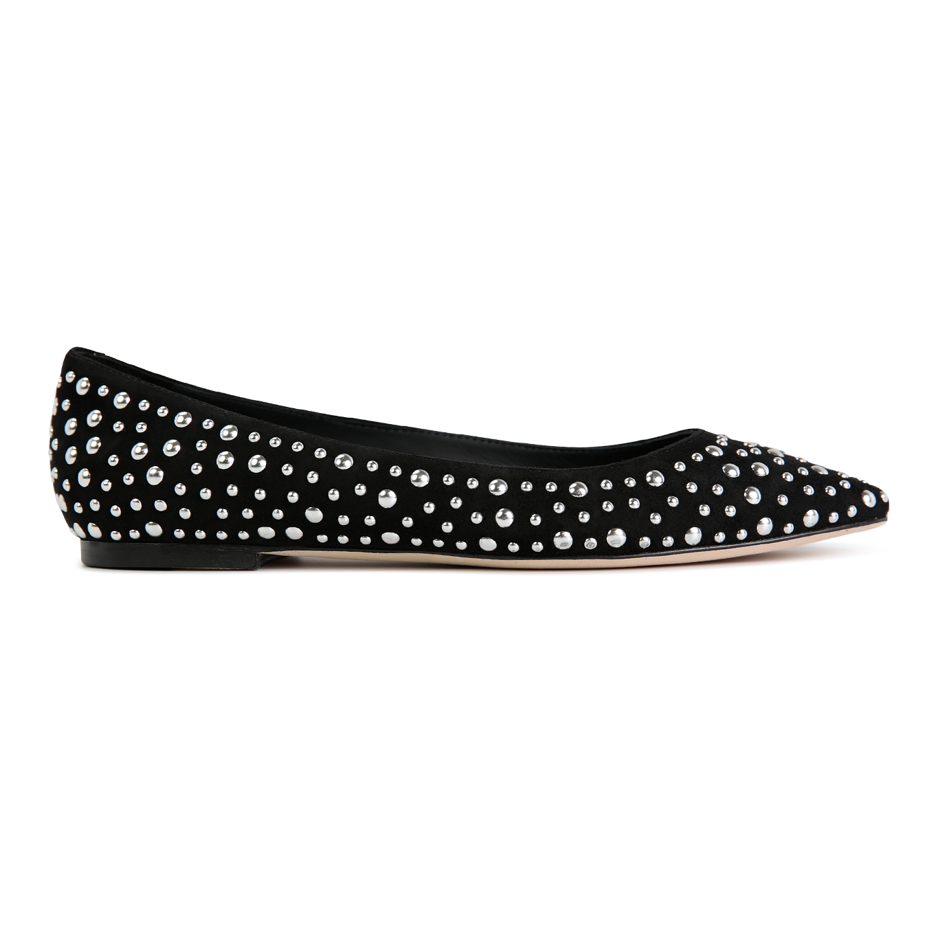 SIENA - Velukid Nero + Big Silver Studs, VIAJIYU - Women's Hand Made Sustainable Luxury Shoes. Made in Italy. Made to Order.