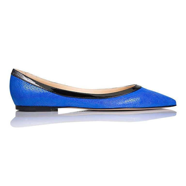 MILANO - Karung Cobalt + Patent Nero, VIAJIYU - Women's Hand Made Sustainable Luxury Shoes. Made in Italy. Made to Order.