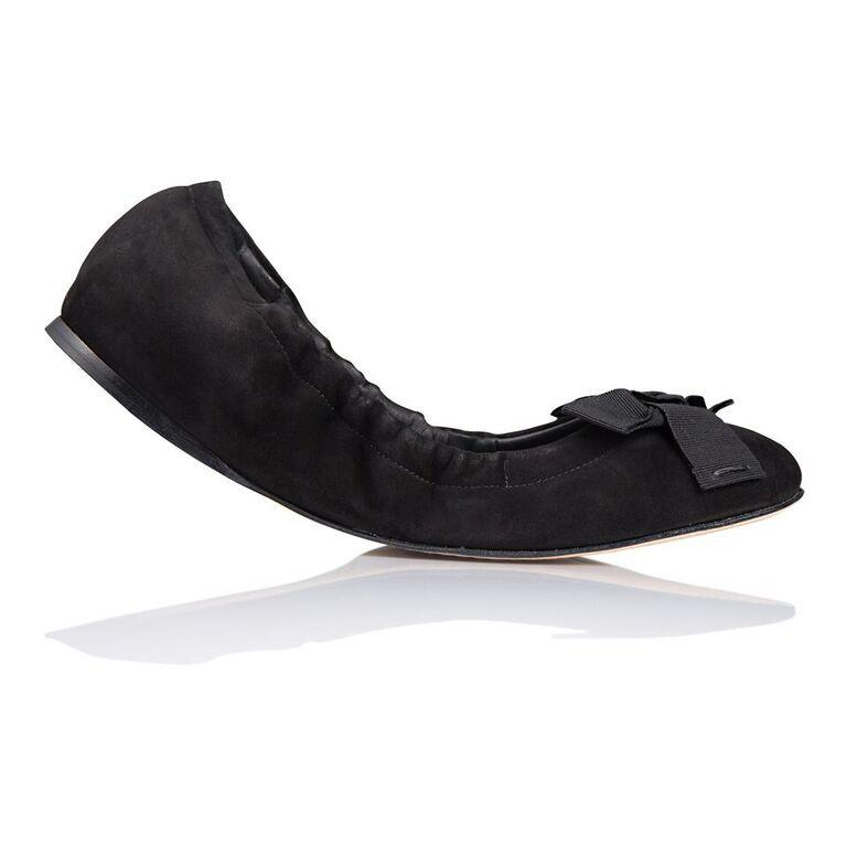 PORTOFINO - Velukid Nero + Gros Nero Bow, VIAJIYU - Women's Hand Made Sustainable Luxury Shoes. Made in Italy. Made to Order.