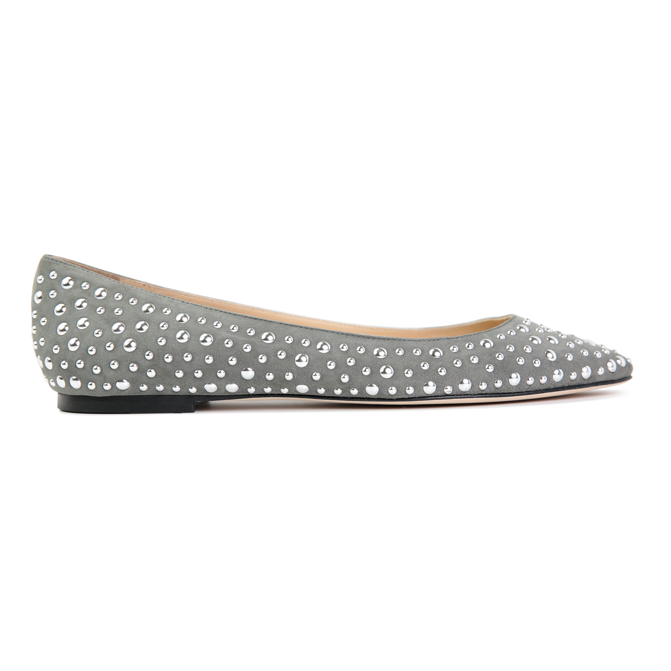 SIENA - Velukid Anthracite + Big Silver Studs, VIAJIYU - Women's Hand Made Sustainable Luxury Shoes. Made in Italy. Made to Order.