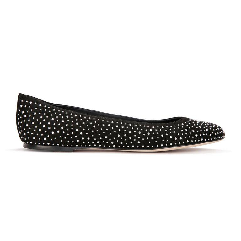 VENEZIA - Velukid Nero + Piccolo Silver Studs, VIAJIYU - Women's Hand Made Sustainable Luxury Shoes. Made in Italy. Made to Order.