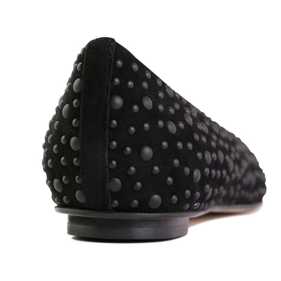 COMO - Velukid Nero + Big Matte Black Studs, VIAJIYU - Women's Hand Made Sustainable Luxury Shoes. Made in Italy. Made to Order.