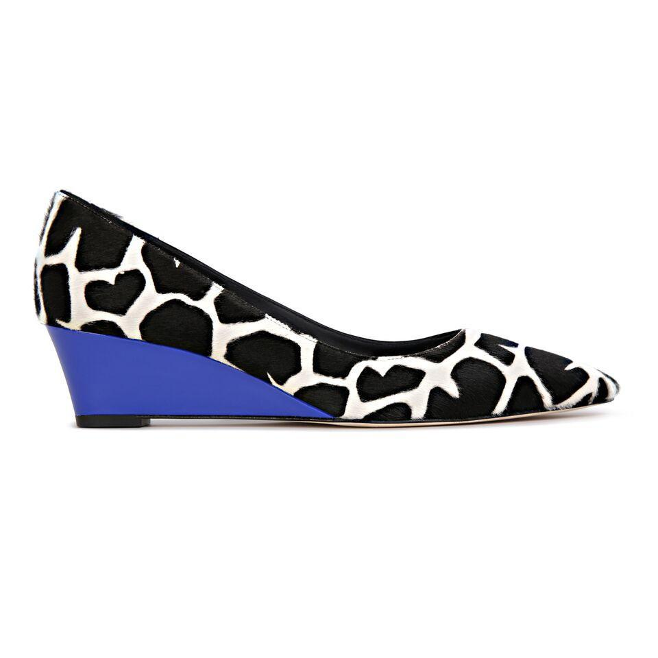 TRENTO - Calf Hair Ruanda + Patent Cobalt, VIAJIYU - Women's Hand Made Sustainable Luxury Shoes. Made in Italy. Made to Order.