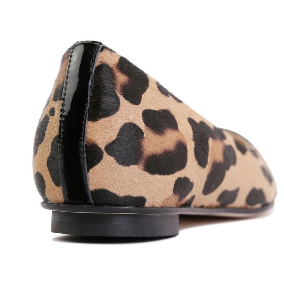 COMO - Calf Hair Leopardo + Patent Nero, VIAJIYU - Women's Hand Made Sustainable Luxury Shoes. Made in Italy. Made to Order.