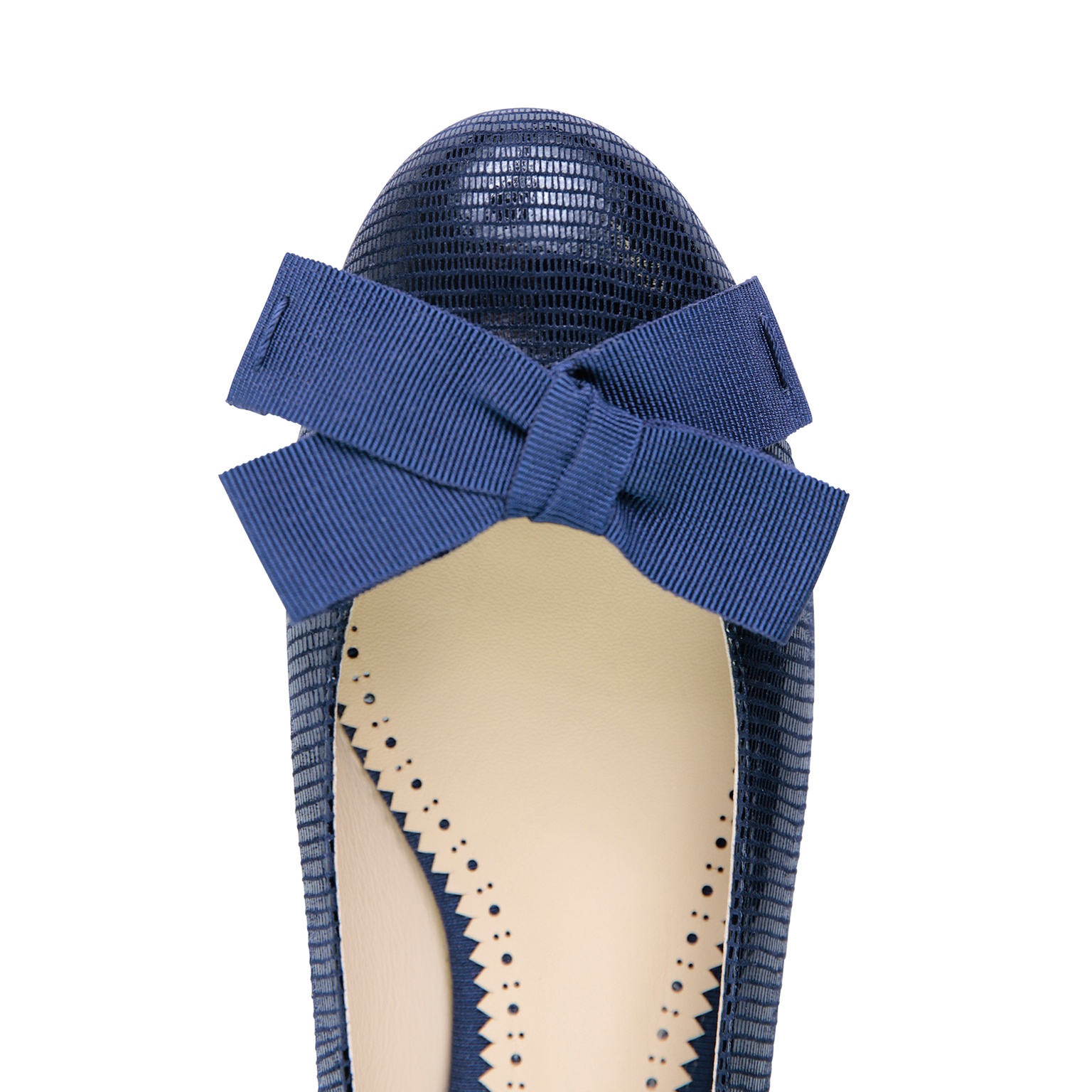 ROMA - Varanus Midnight + Grosgrain Bow, VIAJIYU - Women's Hand Made Sustainable Luxury Shoes. Made in Italy. Made to Order.
