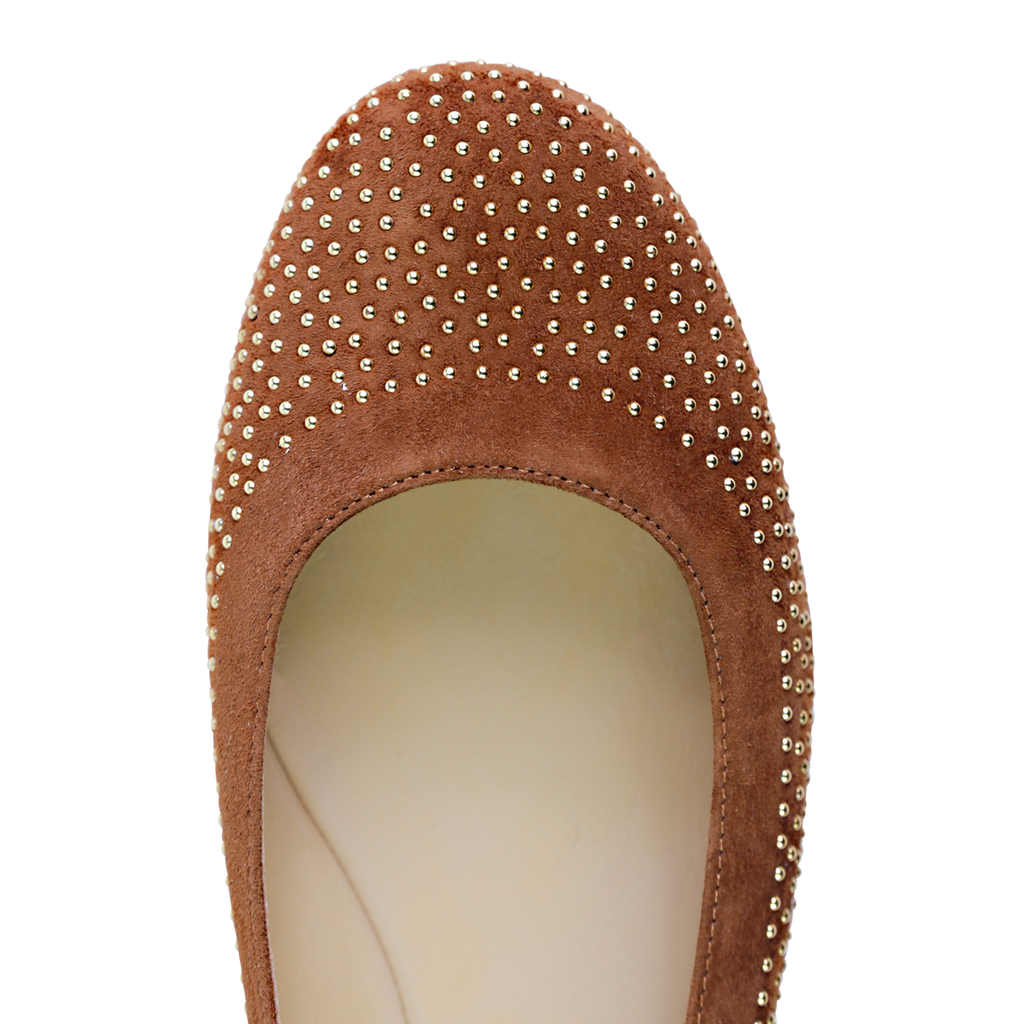 VENEZIA - Velukid Dune + Tiny Gold Studs, VIAJIYU - Women's Hand Made Sustainable Luxury Shoes. Made in Italy. Made to Order.