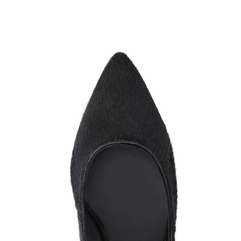 TRENTO - Calf Hair Nero + Velukid Nero, VIAJIYU - Women's Hand Made Sustainable Luxury Shoes. Made in Italy. Made to Order.