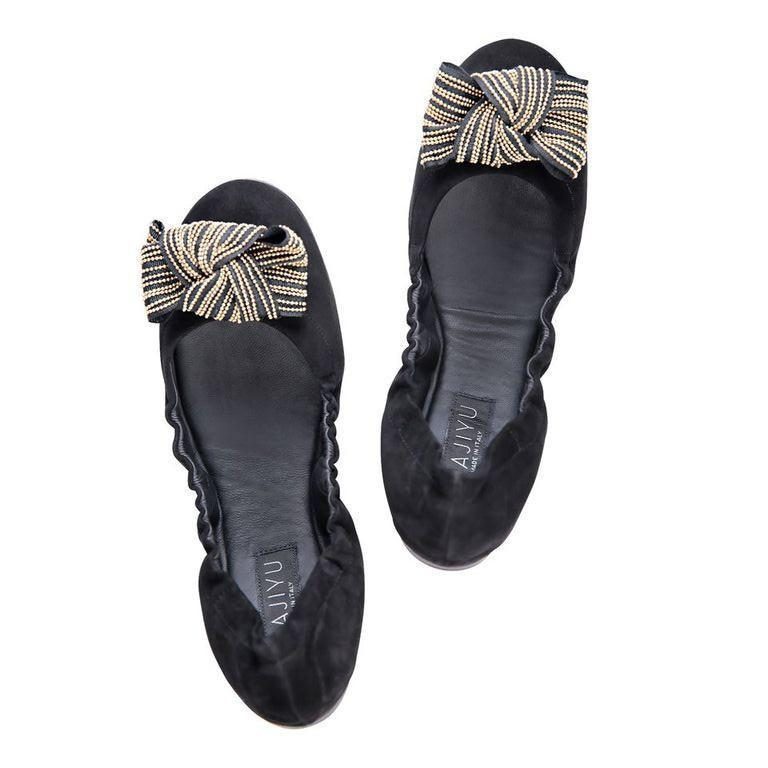 PORTOFINO - Velukid Nero + Gold Stud Bow, VIAJIYU - Women's Hand Made Sustainable Luxury Shoes. Made in Italy. Made to Order.