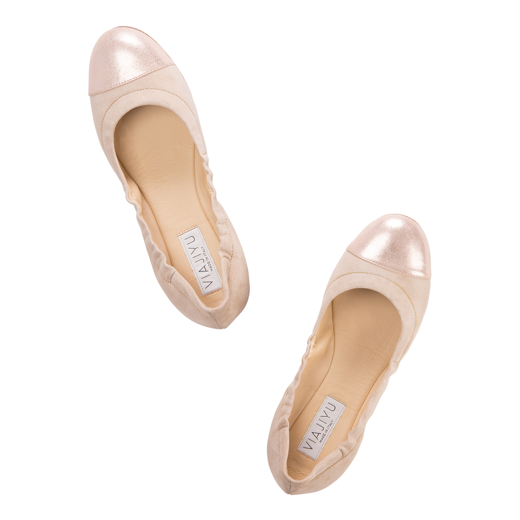 PORTOFINO - Hydra Tan + Burma Rose Gold, VIAJIYU - Women's Hand Made Sustainable Luxury Shoes. Made in Italy. Made to Order.