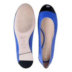 ROMA - Varanus Cobalt + Patent Nero Toe + Back, VIAJIYU - Women's Hand Made Sustainable Luxury Shoes. Made in Italy. Made to Order.