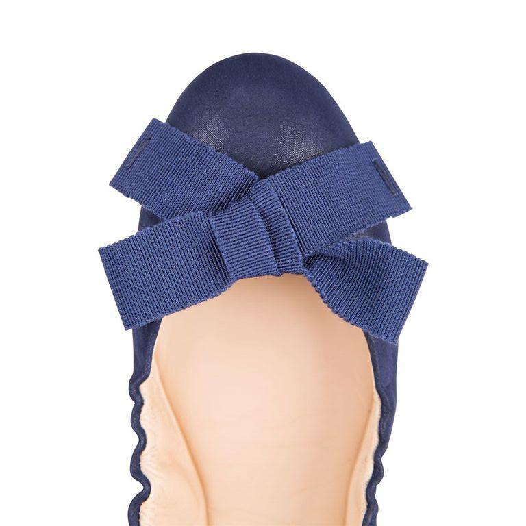 PORTOFINO - Hydra Midnight + Grosgrain Bow, VIAJIYU - Women's Hand Made Sustainable Luxury Shoes. Made in Italy. Made to Order.