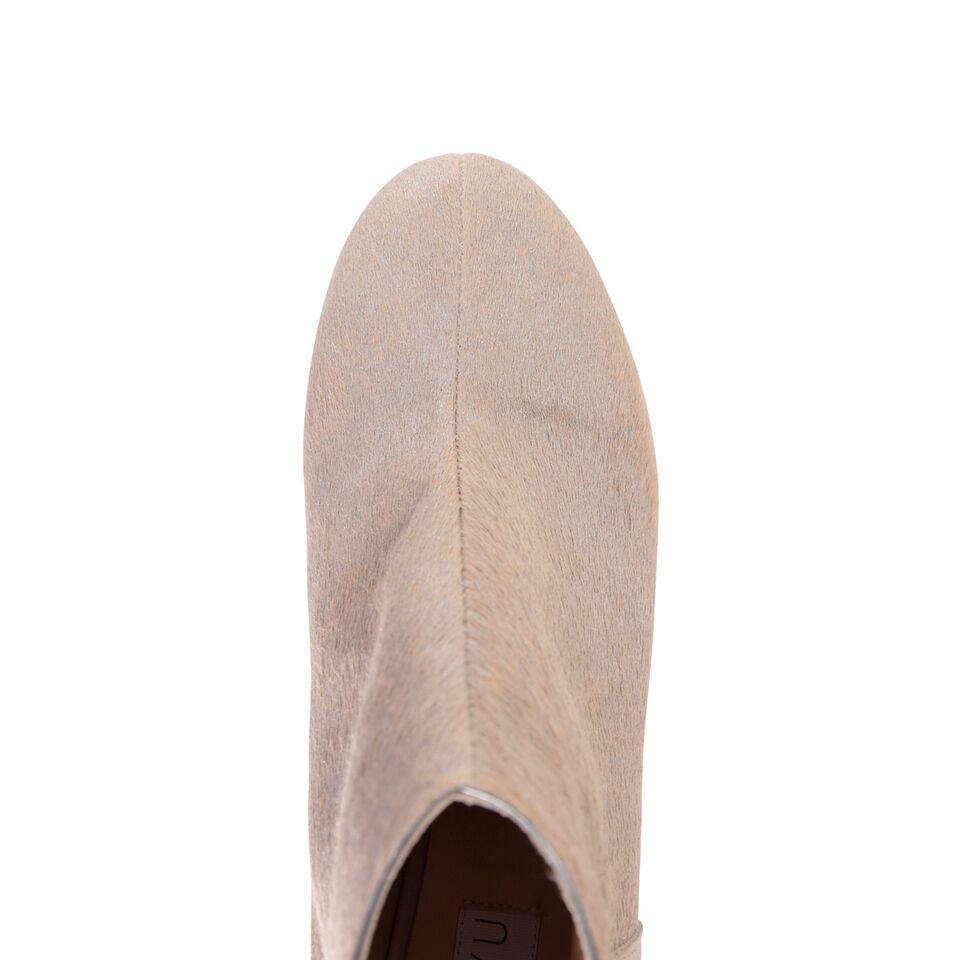 OLBIA - Calf Hair Tan + Velukid Tan, VIAJIYU - Women's Hand Made Sustainable Luxury Shoes. Made in Italy. Made to Order.