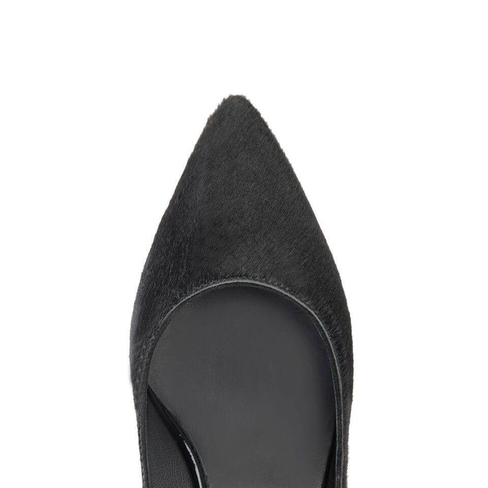 TRENTO - Calf Hair Nero, VIAJIYU - Women's Hand Made Sustainable Luxury Shoes. Made in Italy. Made to Order.