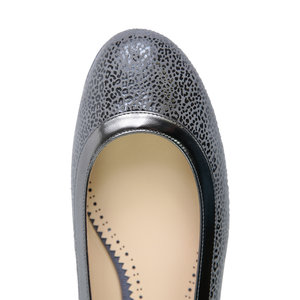 ROMA - Savannah Anthracite + Metallic Trim, VIAJIYU - Women's Hand Made Sustainable Luxury Shoes. Made in Italy. Made to Order.