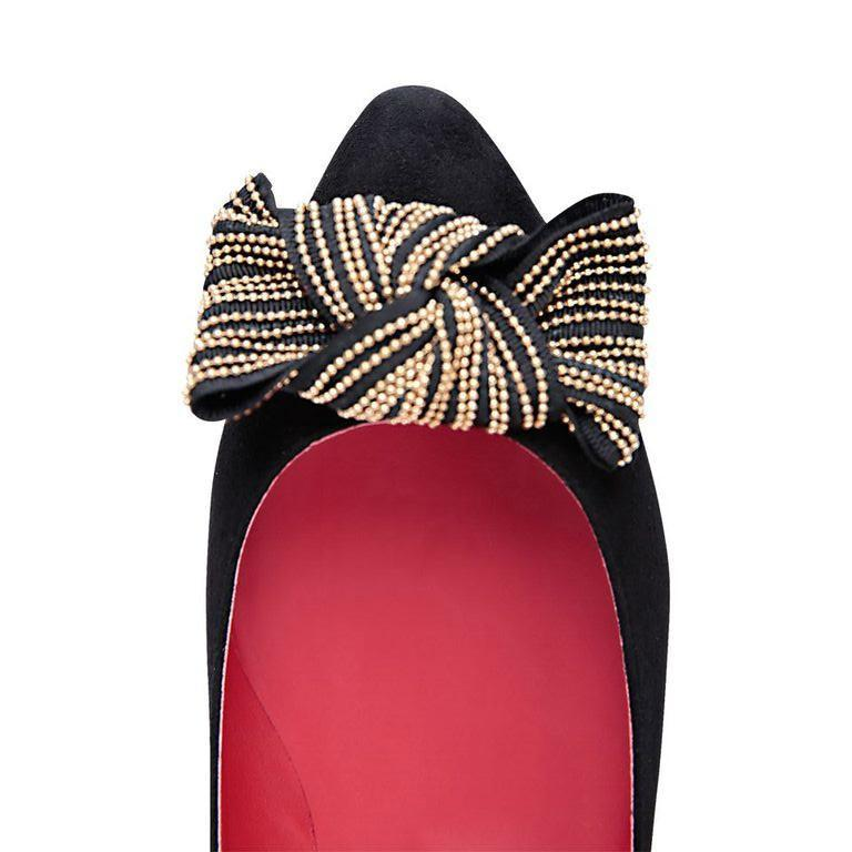 SIENA - Velukid Nero + Gold Stud Bow + Pink Inside, VIAJIYU - Women's Hand Made Sustainable Luxury Shoes. Made in Italy. Made to Order.