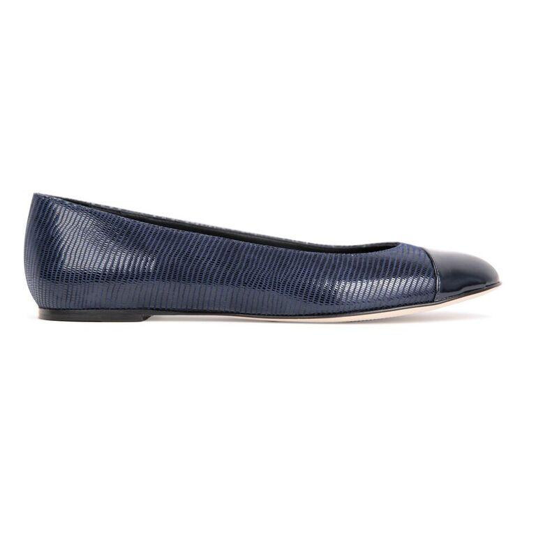 ROMA - Varanus Midnight + Patent Toe, VIAJIYU - Women's Hand Made Sustainable Luxury Shoes. Made in Italy. Made to Order.