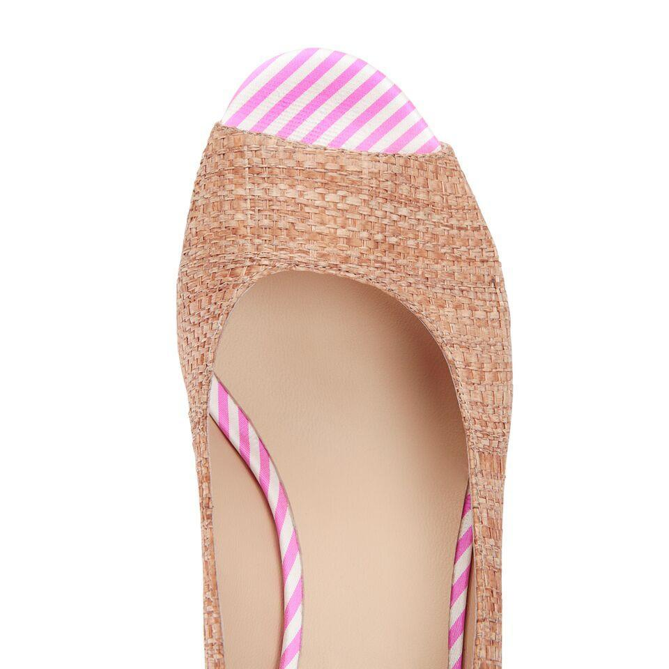SARDINIA - Raffia Natural + Textile Pink Candy Stripe, VIAJIYU - Women's Hand Made Sustainable Luxury Shoes. Made in Italy. Made to Order.
