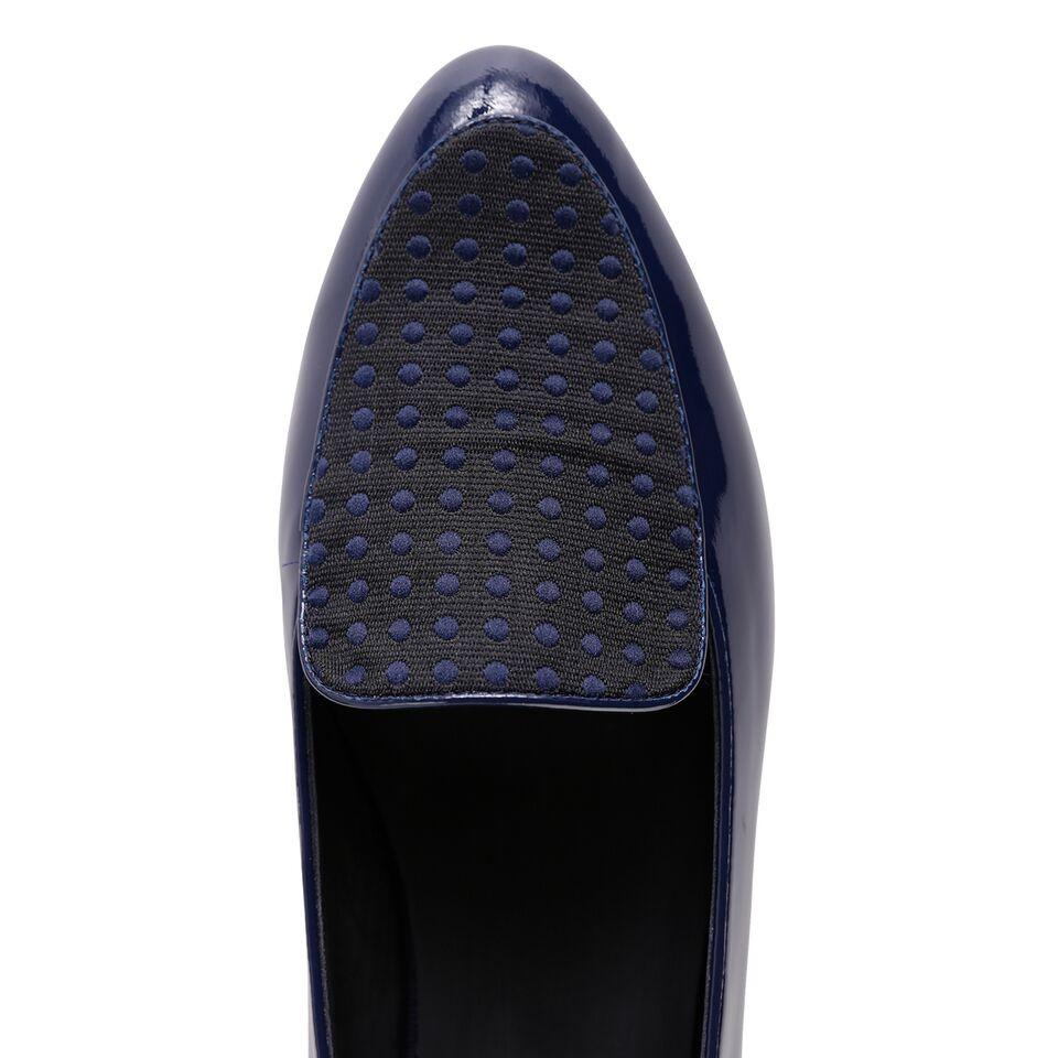 REGGIO - Patent Navy + Textile Polka Dot Midnight, VIAJIYU - Women's Hand Made Sustainable Luxury Shoes. Made in Italy. Made to Order.