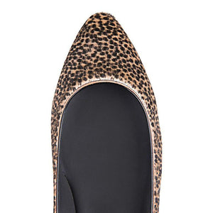 SIENA - Calf Hair Orange Cheetah, VIAJIYU - Women's Hand Made Sustainable Luxury Shoes. Made in Italy. Made to Order.