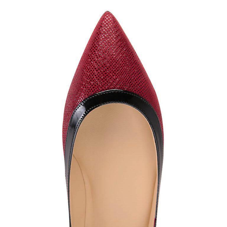 MILANO - Karung Bordeaux + Patent Nero, VIAJIYU - Women's Hand Made Sustainable Luxury Shoes. Made in Italy. Made to Order.