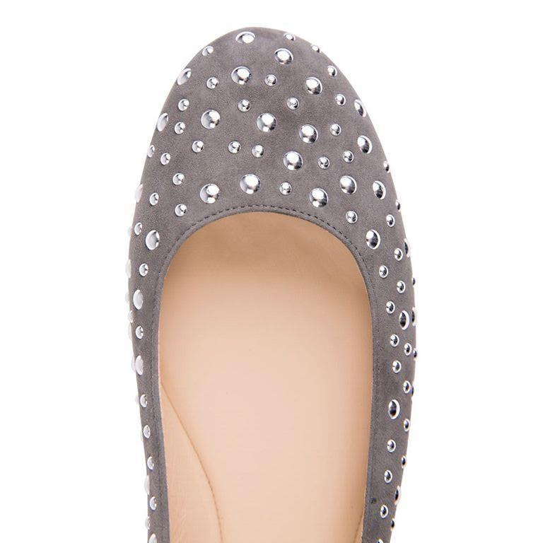 VENEZIA - Velukid Anthracite + Big Silver Studs, VIAJIYU - Women's Hand Made Sustainable Luxury Shoes. Made in Italy. Made to Order.