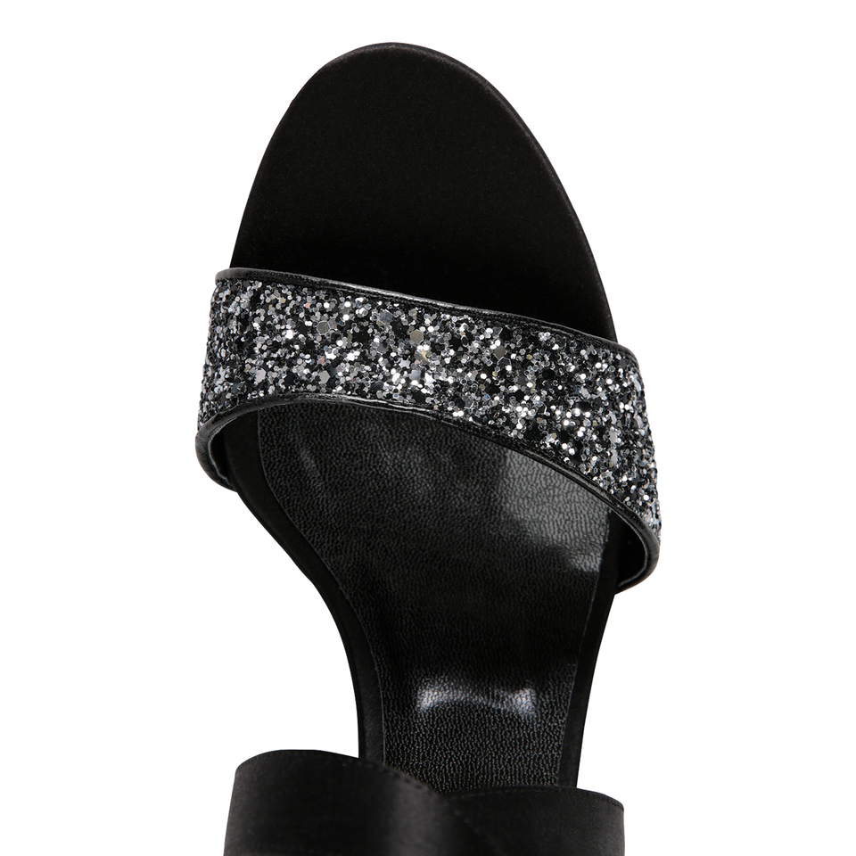 MODENA - Glitter Notte + Satin Nero, VIAJIYU - Women's Hand Made Sustainable Luxury Shoes. Made in Italy. Made to Order.