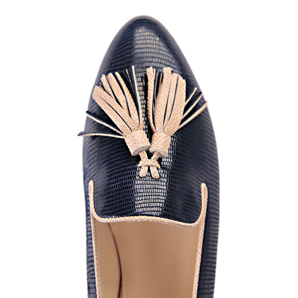 PARMA - Varanus Midnight + Karung Tan, VIAJIYU - Women's Hand Made Sustainable Luxury Shoes. Made in Italy. Made to Order.
