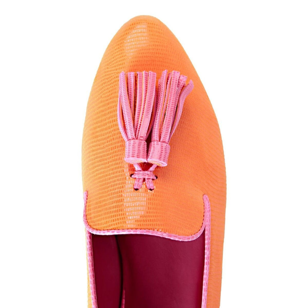 PARMA - Varanus Mandarin + Tulip Pink, VIAJIYU - Women's Hand Made Sustainable Luxury Shoes. Made in Italy. Made to Order.