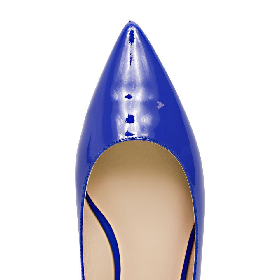 COMO - Patent Deep Blue, VIAJIYU - Women's Hand Made Sustainable Luxury Shoes. Made in Italy. Made to Order.