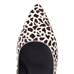 TRENTO - Calf Hair Dalmatian + Patent Nero, VIAJIYU - Women's Hand Made Sustainable Luxury Shoes. Made in Italy. Made to Order.