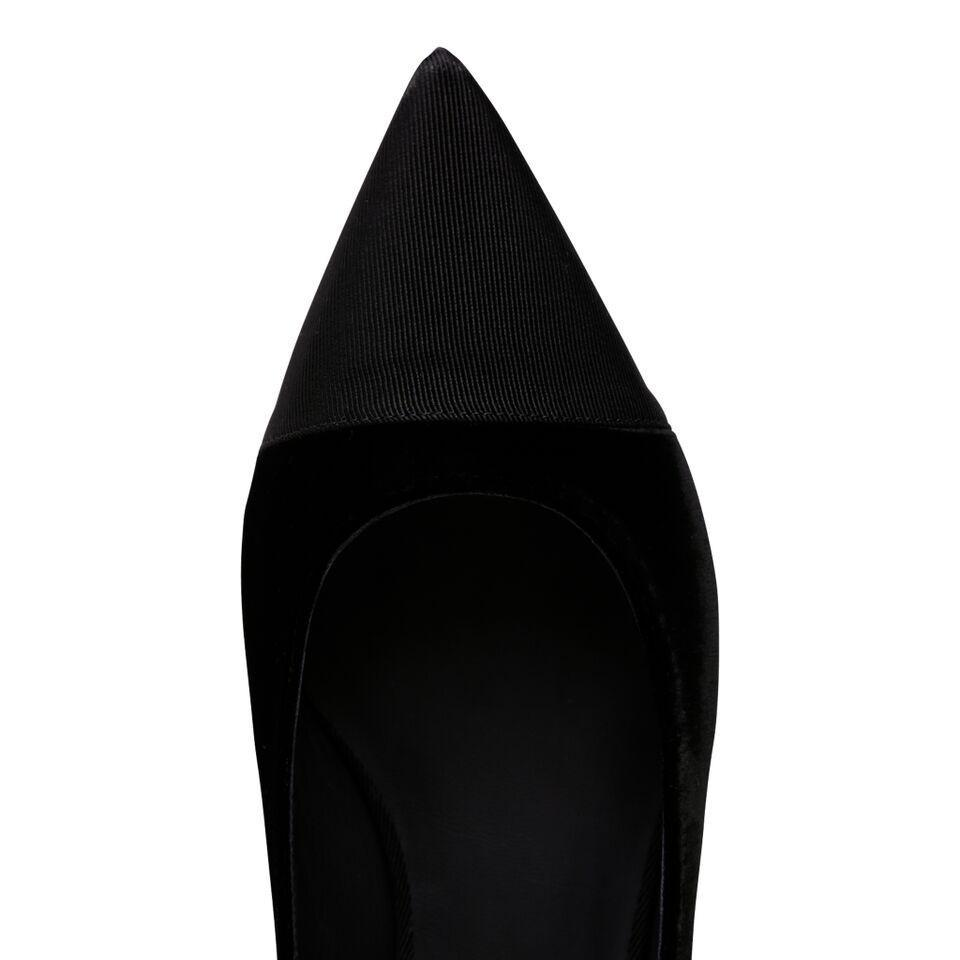 COMO - Velvet Nero + Grosgrain Nero, VIAJIYU - Women's Hand Made Sustainable Luxury Shoes. Made in Italy. Made to Order.