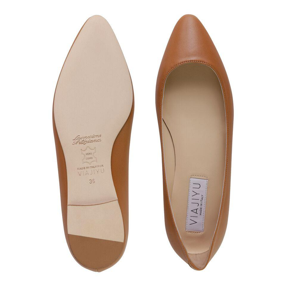 SIENA - Nappa Cuoio, VIAJIYU - Women's Hand Made Sustainable Luxury Shoes. Made in Italy. Made to Order.
