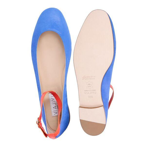 TORINO - Hydra Cobalt + Patent Tuscan Sunset, VIAJIYU - Women's Hand Made Sustainable Luxury Shoes. Made in Italy. Made to Order.