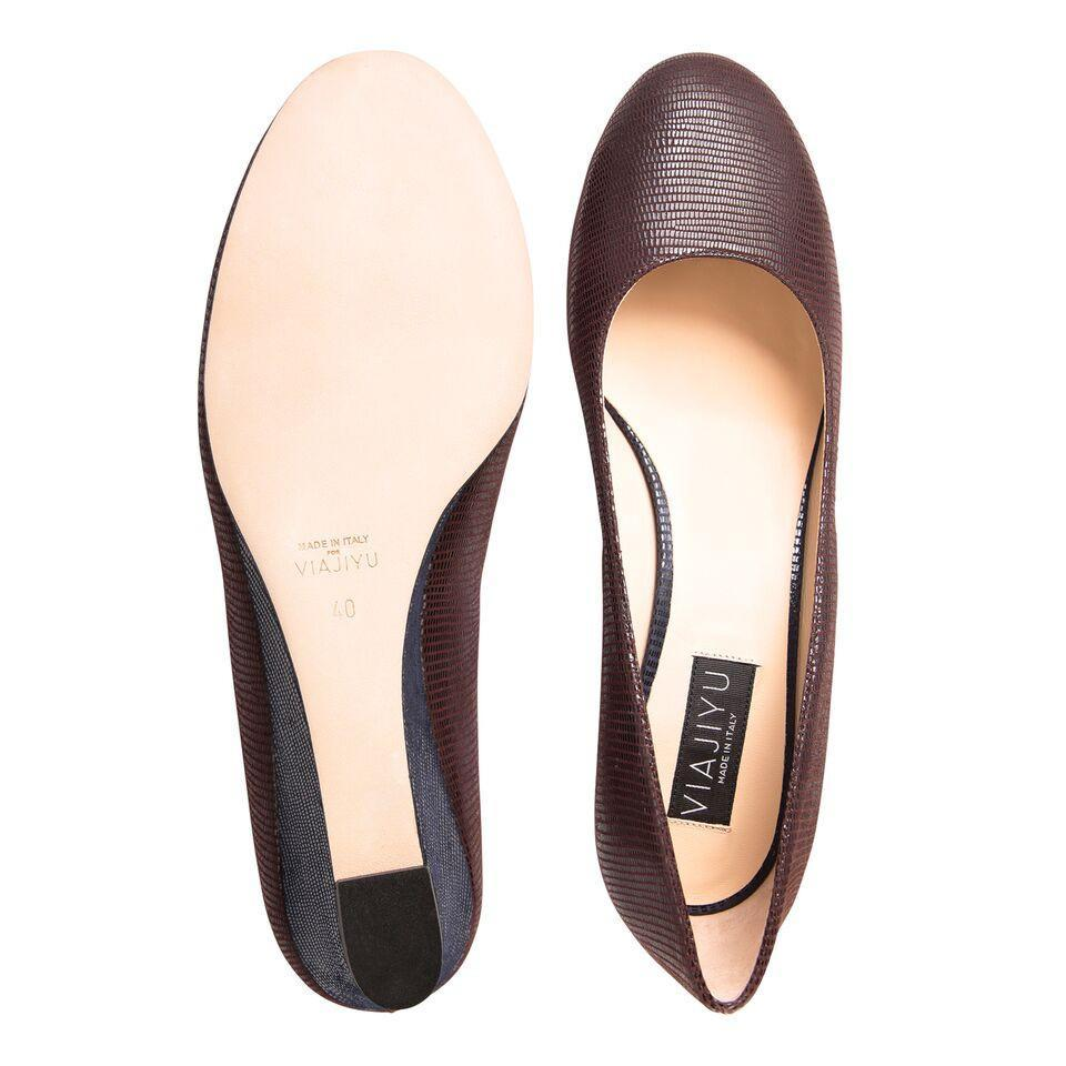 BERGAMO - Varanus Espresso + Varanus Midnight, VIAJIYU - Women's Hand Made Sustainable Luxury Shoes. Made in Italy. Made to Order.