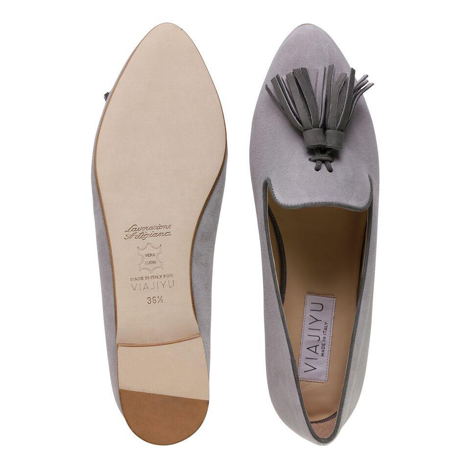 PARMA - Velukid Grigio + Anthracite, VIAJIYU - Women's Hand Made Sustainable Luxury Shoes. Made in Italy. Made to Order.