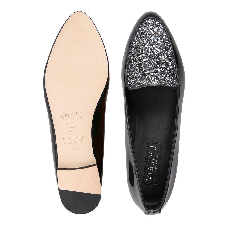 REGGIO - Patent Nero + Glitter Notte, VIAJIYU - Women's Hand Made Sustainable Luxury Shoes. Made in Italy. Made to Order.