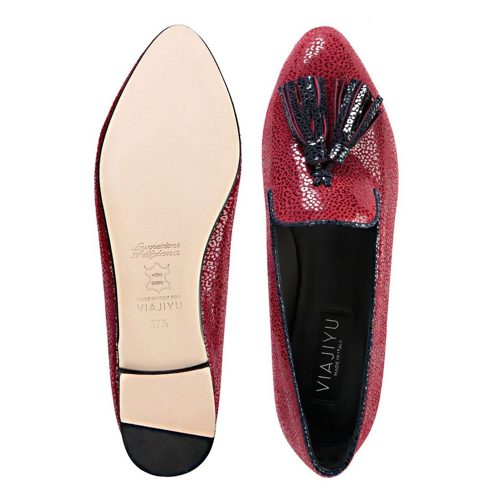 PARMA - Savannah Bordeaux + Midnight, VIAJIYU - Women's Hand Made Sustainable Luxury Shoes. Made in Italy. Made to Order.