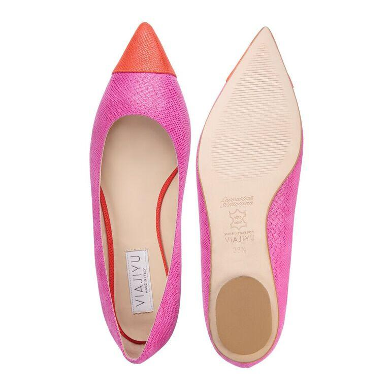 COMO - Karung Epiphany Pink + Tuscan Sunset, VIAJIYU - Women's Hand Made Sustainable Luxury Shoes. Made in Italy. Made to Order.
