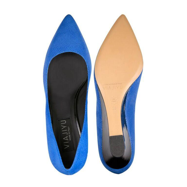 TRENTO - Karung Cobalt + Patent Nero, VIAJIYU - Women's Hand Made Sustainable Luxury Shoes. Made in Italy. Made to Order.