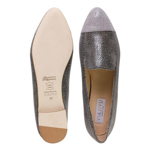 RAVENNA - Savannah Anthracite + Grigio Toe, VIAJIYU - Women's Hand Made Sustainable Luxury Shoes. Made in Italy. Made to Order.