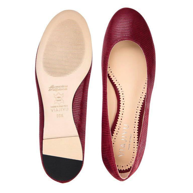 ROMA - Varanus Bordeaux, VIAJIYU - Women's Hand Made Sustainable Luxury Shoes. Made in Italy. Made to Order.