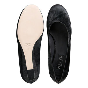 BERGAMO - Calf Hair Nero + Karung, VIAJIYU - Women's Hand Made Sustainable Luxury Shoes. Made in Italy. Made to Order.