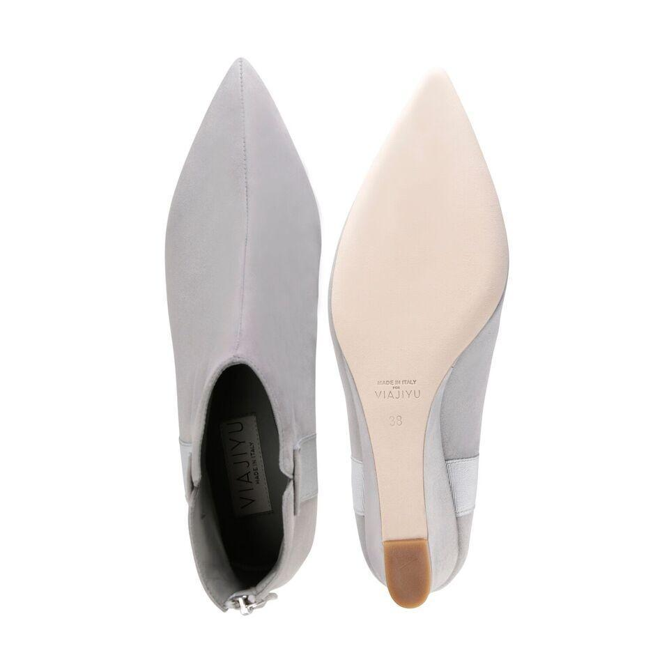 FORTE - Velukid Grigio + Grosgrain Perla, VIAJIYU - Women's Hand Made Sustainable Luxury Shoes. Made in Italy. Made to Order.