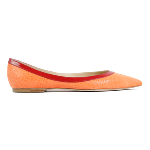 MILANO - Karung Mandarin + Patent Rosso, VIAJIYU - Women's Hand Made Sustainable Luxury Shoes. Made in Italy. Made to Order.