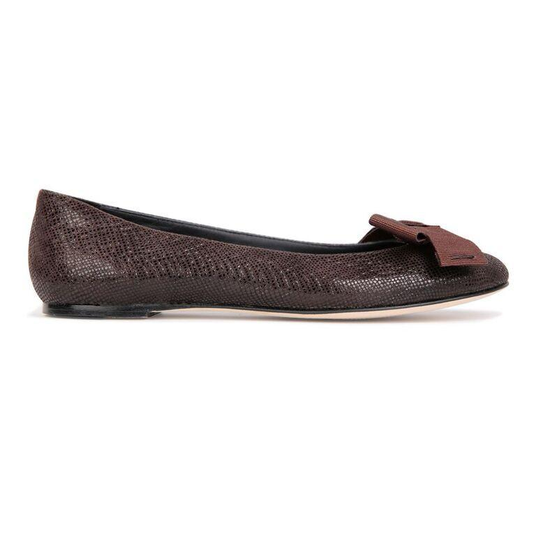 VENEZIA - Karung Espresso + Grosgrain Bow, VIAJIYU - Women's Hand Made Sustainable Luxury Shoes. Made in Italy. Made to Order.